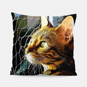 Thumbnail image of gxp bengal cat yearns for freedom vector art Pillow, Live Heroes