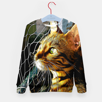 Thumbnail image of gxp bengal cat yearns for freedom vector art Kid's sweater, Live Heroes