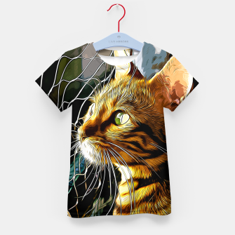 Thumbnail image of gxp bengal cat yearns for freedom vector art Kid's t-shirt, Live Heroes