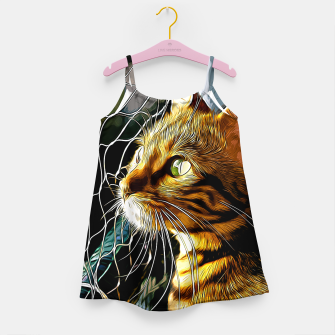 Thumbnail image of gxp bengal cat yearns for freedom vector art Girl's dress, Live Heroes