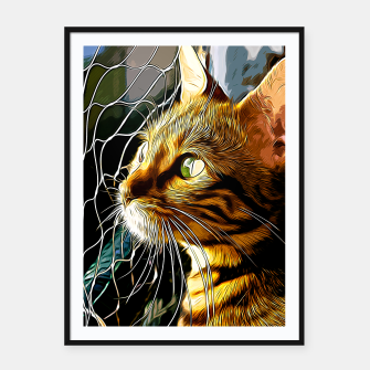 Thumbnail image of gxp bengal cat yearns for freedom vector art Framed poster, Live Heroes