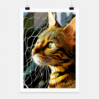 Thumbnail image of gxp bengal cat yearns for freedom vector art Poster, Live Heroes