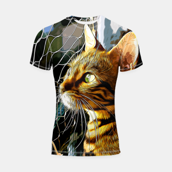Thumbnail image of gxp bengal cat yearns for freedom vector art Shortsleeve rashguard, Live Heroes