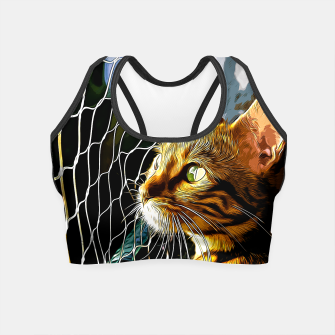Thumbnail image of gxp bengal cat yearns for freedom vector art Crop Top, Live Heroes