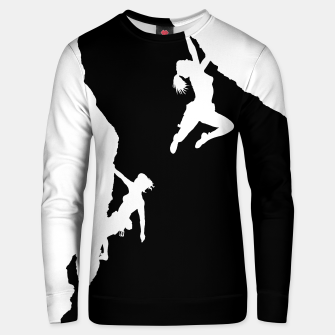 Thumbnail image of women rockclimbing (inverted version) sweater, Live Heroes
