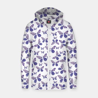 Thumbnail image of Butterfly Drawing Pattern Cotton zip up hoodie, Live Heroes