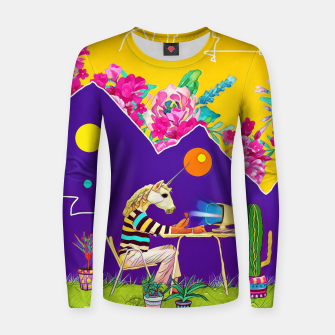 Thumbnail image of Lonely unicorn Woman cotton sweater, Live Heroes