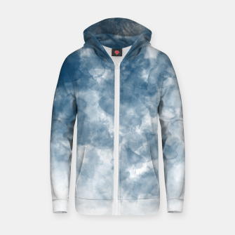Thumbnail image of Blue Watercolour Effect Cotton zip up hoodie, Live Heroes