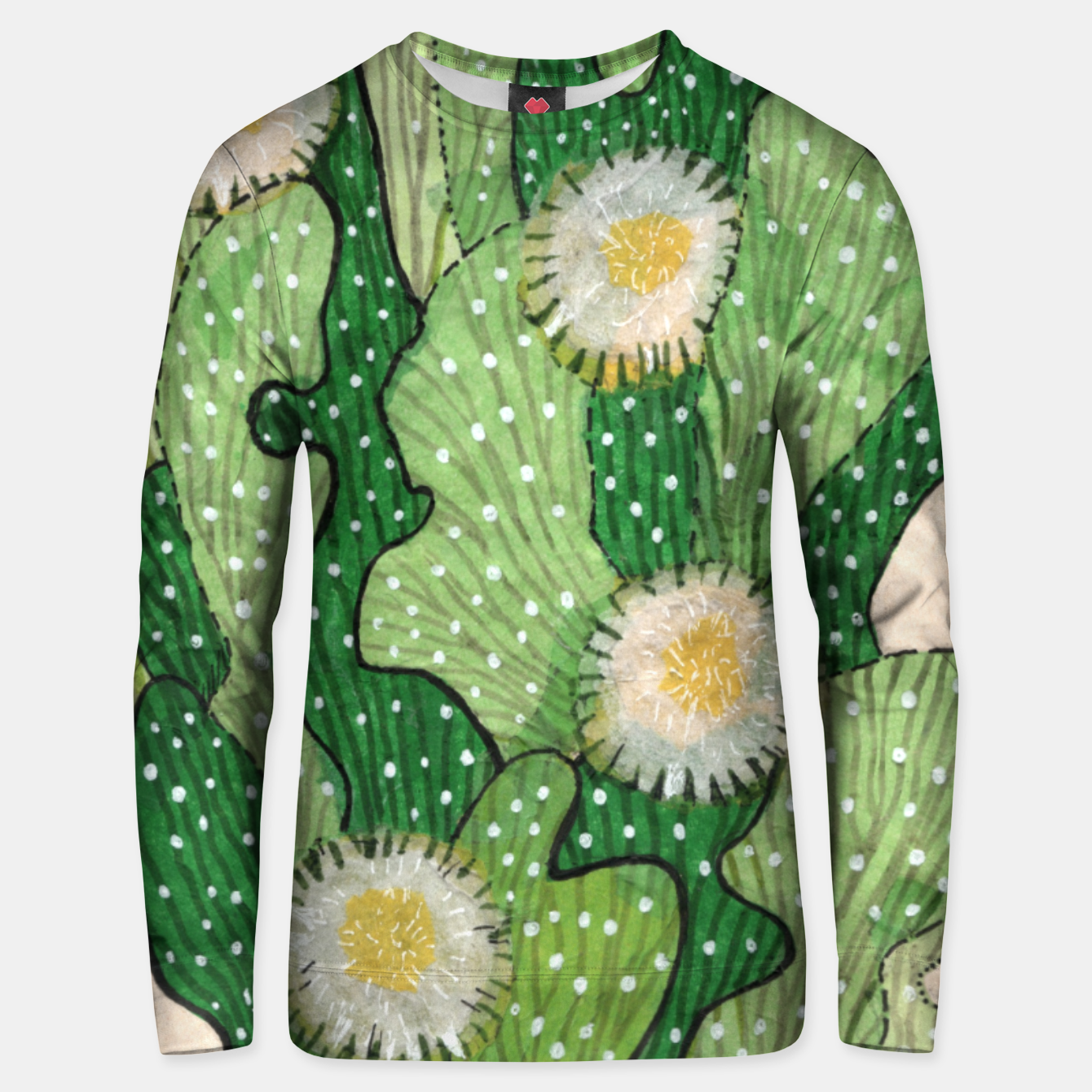 Image of Blooming Cactus, Green, White & Beige Cotton sweater - Live Heroes