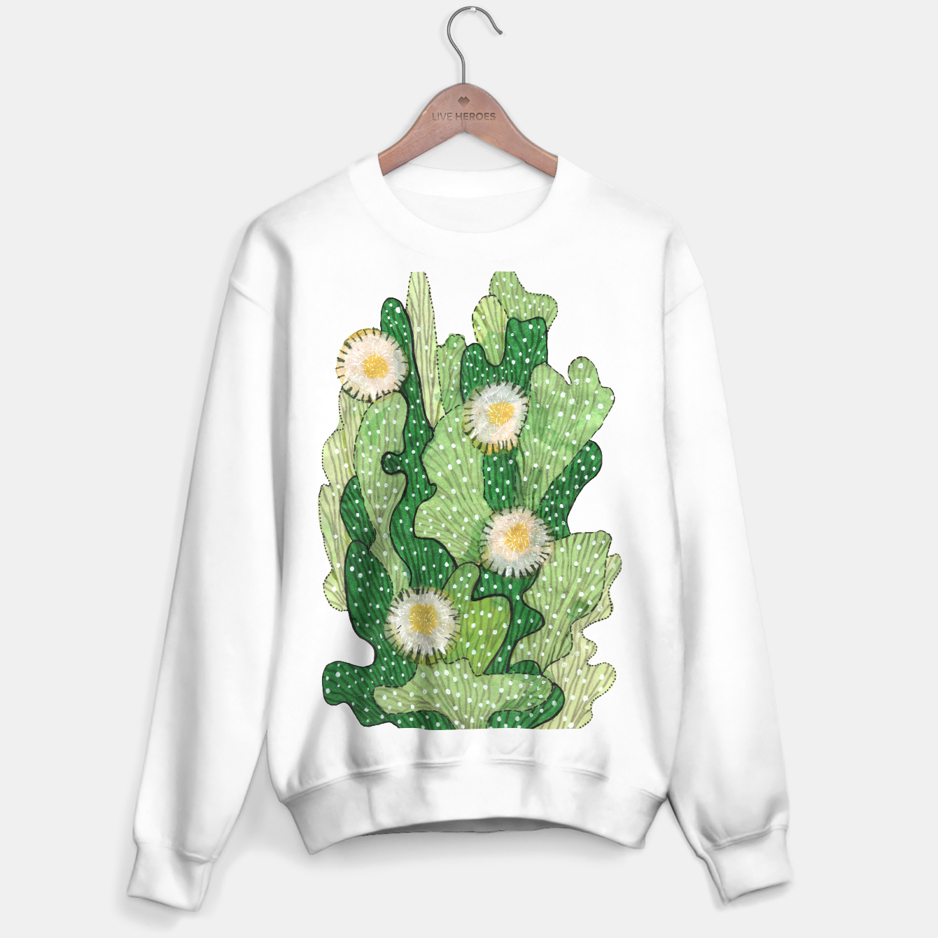 Image of Blooming Cactus, Green, White & Beige Sweater regular - Live Heroes