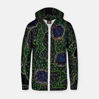 Blooming Cactus, Black & Neon Cotton zip up hoodie thumbnail image