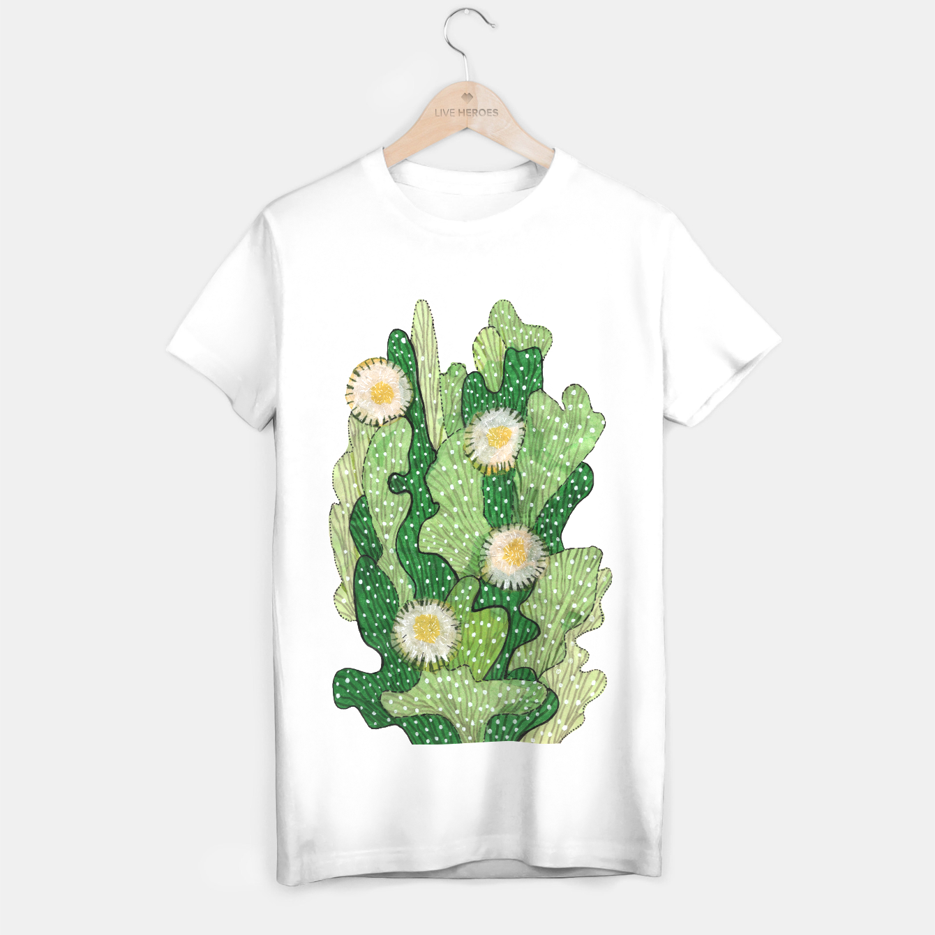 Image of Blooming Cactus, Green, White & Beige T-shirt regular - Live Heroes