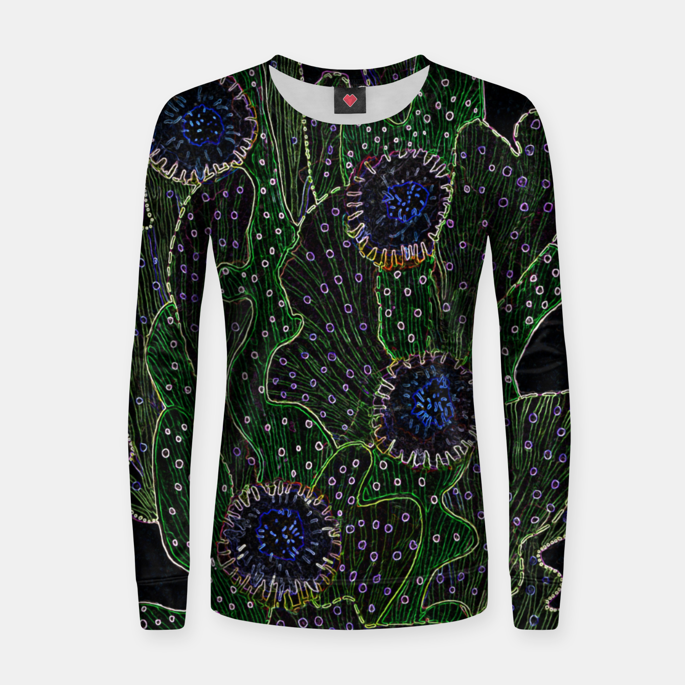 Image of Blooming Cactus, Black & Neon Woman cotton sweater - Live Heroes