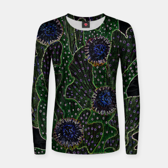 Blooming Cactus, Black & Neon Woman cotton sweater thumbnail image