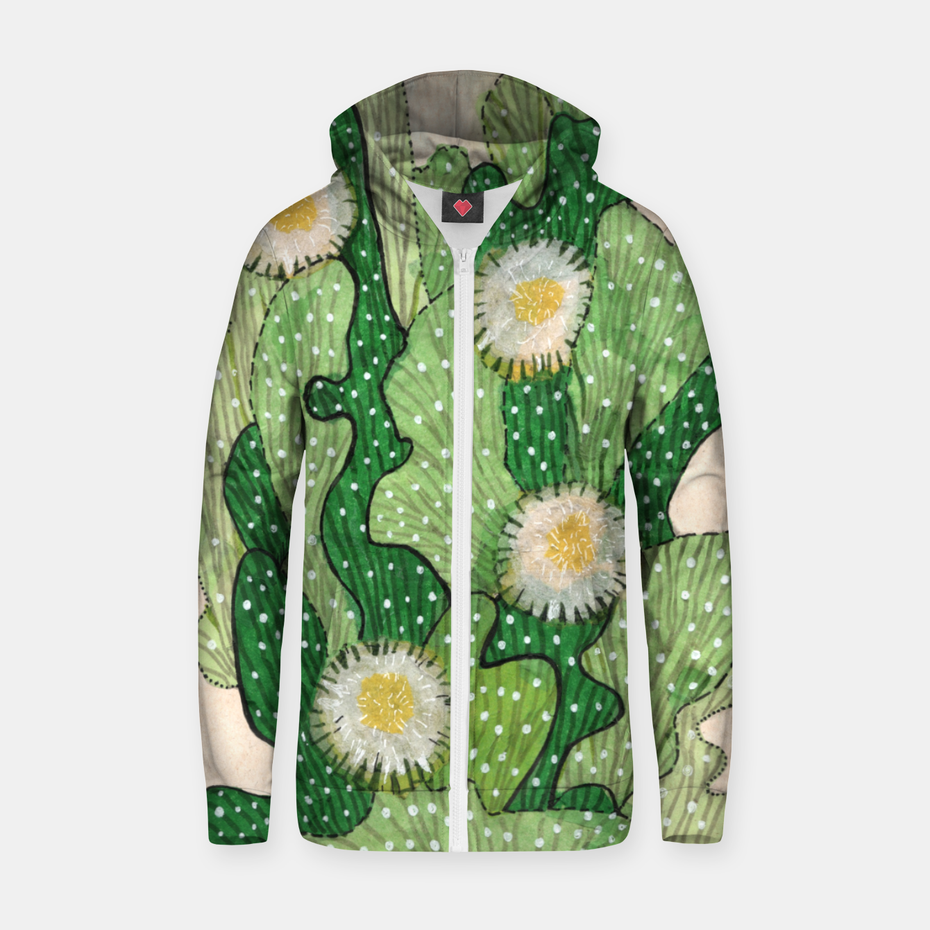 Image of Blooming Cactus, Green, White & Beige Cotton zip up hoodie - Live Heroes