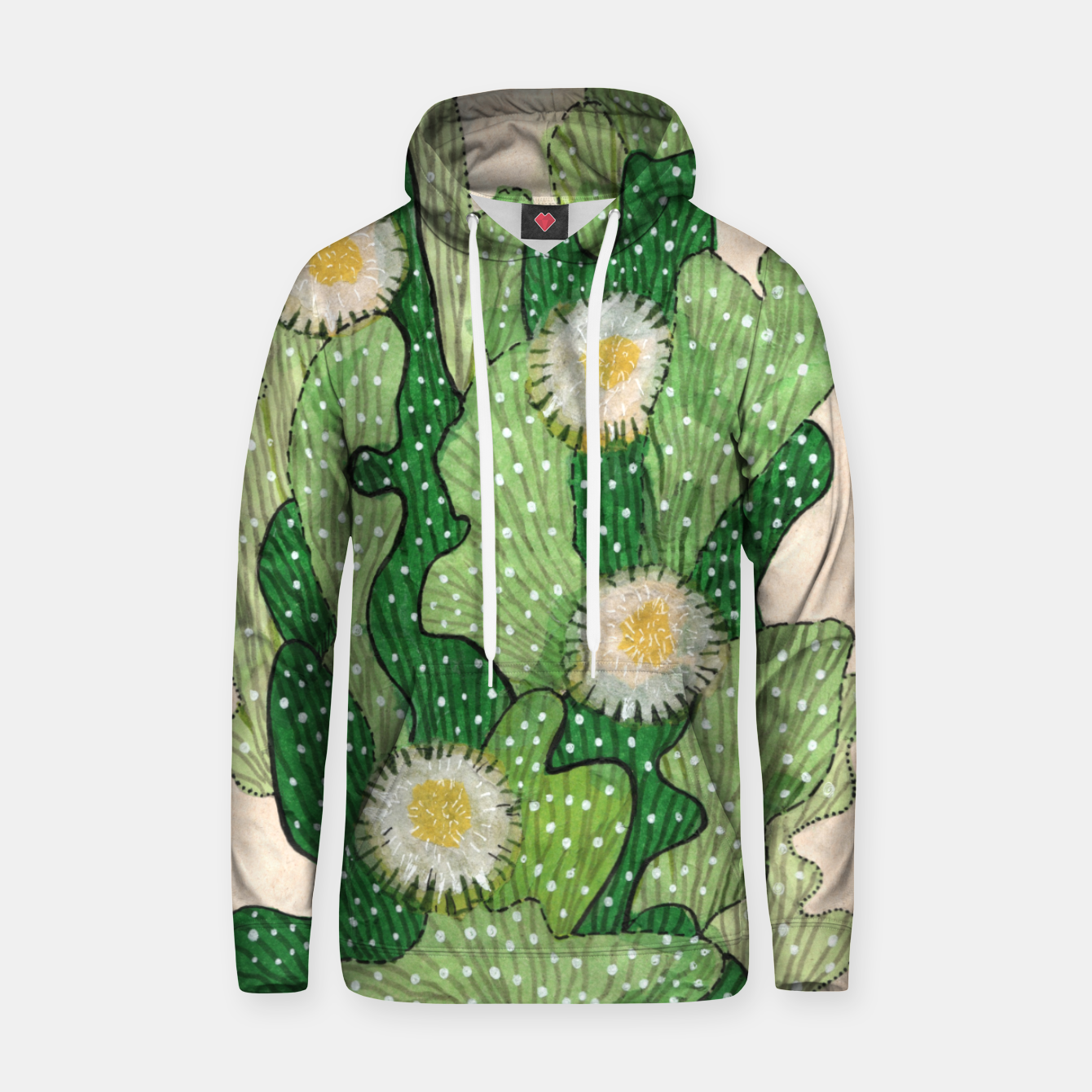 Image of Blooming Cactus, Green, White & Beige Cotton hoodie - Live Heroes