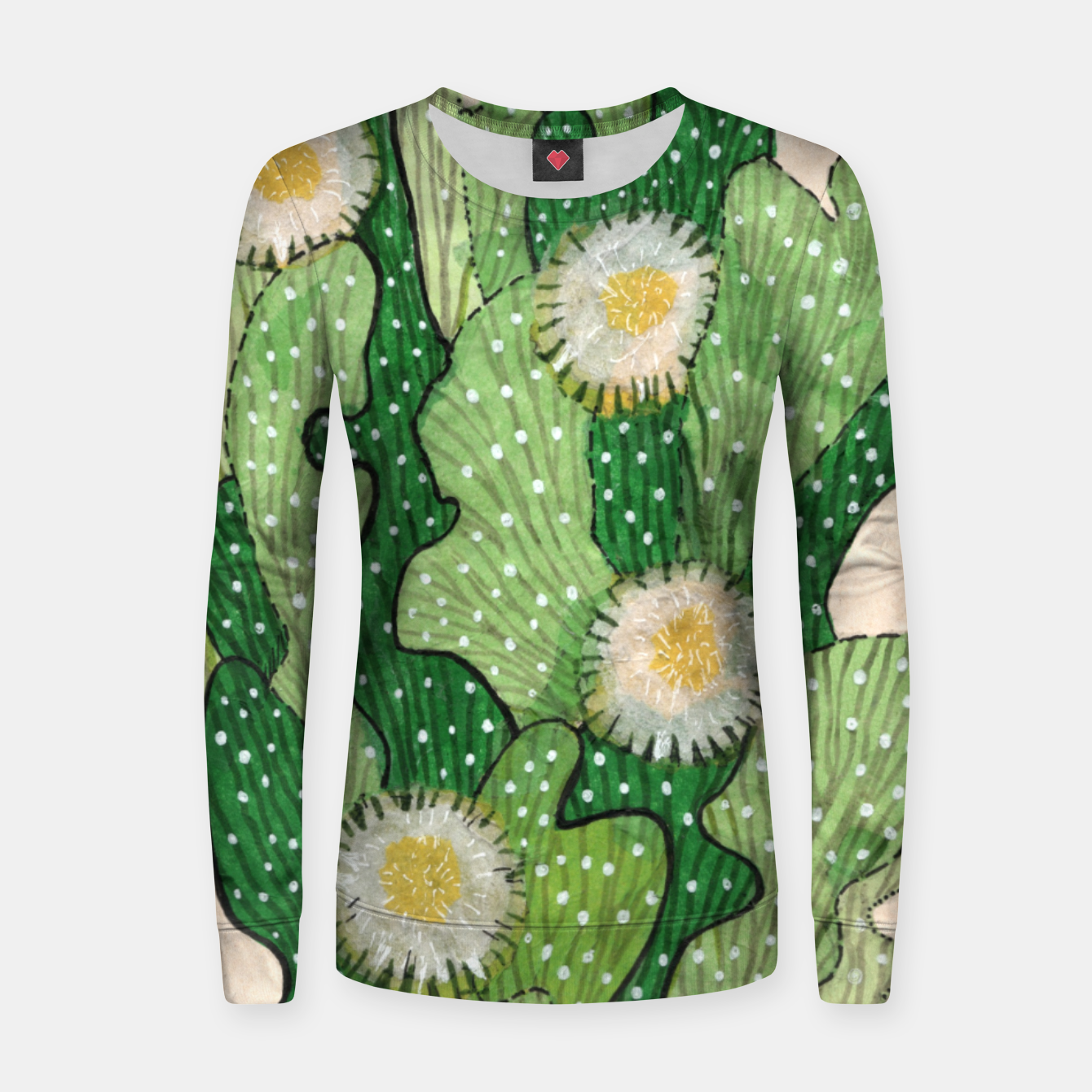 Image of Blooming Cactus, Green, White & Beige Woman cotton sweater - Live Heroes