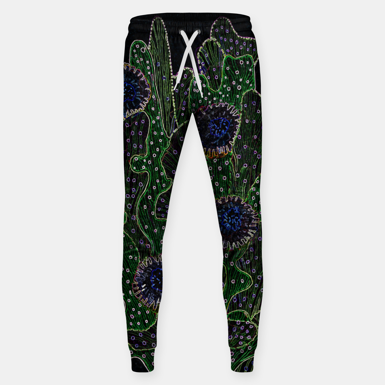 Image of Blooming Cactus, Black & Neon Cotton sweatpants - Live Heroes