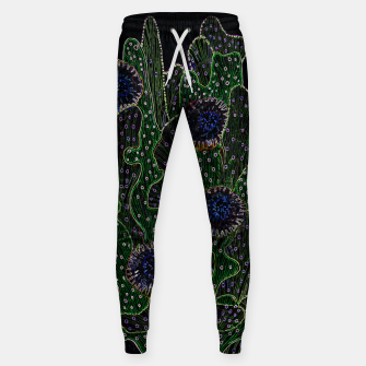 Blooming Cactus, Black & Neon Cotton sweatpants thumbnail image