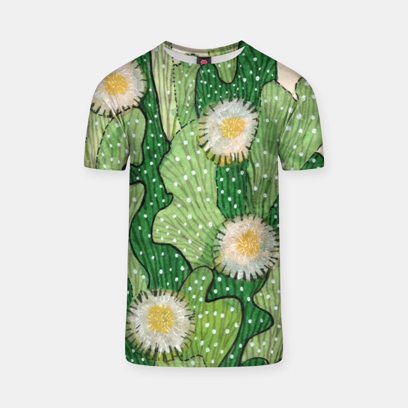 Image of Blooming Cactus, Green, White & Beige T-shirt - Live Heroes