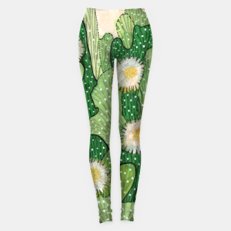 Blooming Cactus, Green, White & Beige Leggings thumbnail image