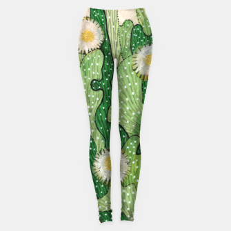 Thumbnail image of Blooming Cactus, Green, White & Beige Leggings, Live Heroes