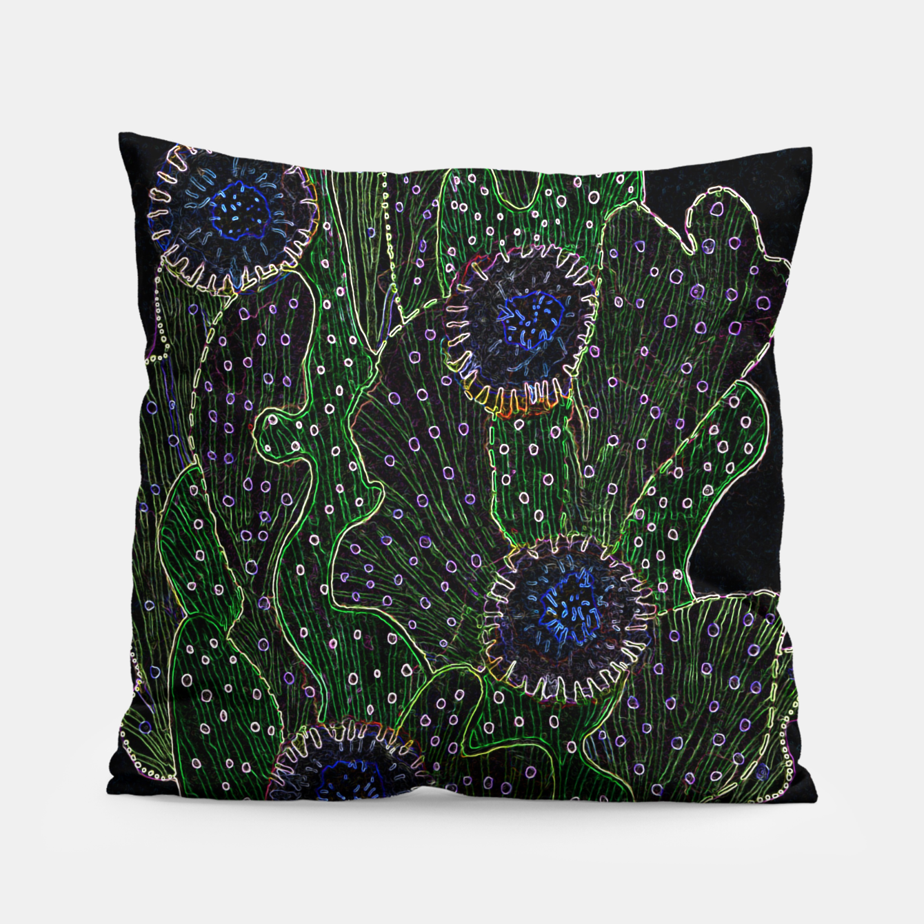 Image of Blooming Cactus, Black & Neon Pillow - Live Heroes