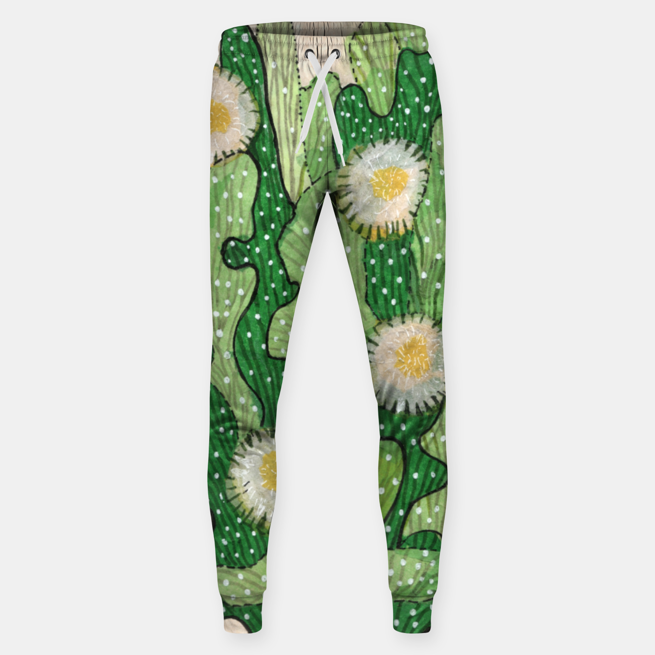 Image of Blooming Cactus, Green, White & Beige Cotton sweatpants - Live Heroes