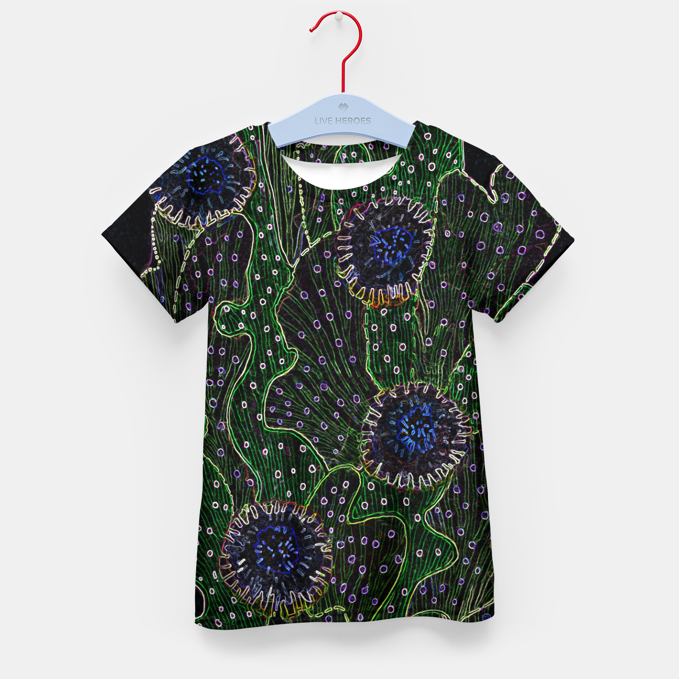 Image of Blooming Cactus, Black & Neon Kid's t-shirt - Live Heroes