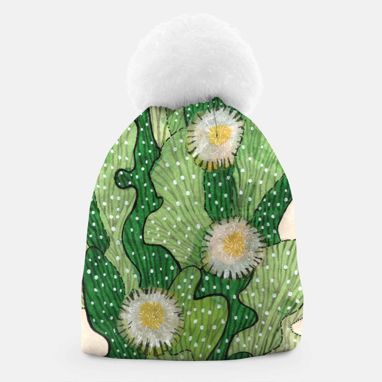 Image of Blooming Cactus, Green, White & Beige Beanie - Live Heroes