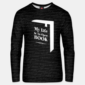 Thumbnail image of My Life Is An Open Book Cotton sweater, Live Heroes