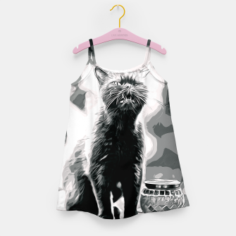 Thumbnail image of gxp british shorthair cat ready to attack vector art black white Girl's dress, Live Heroes