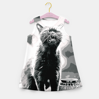 Thumbnail image of gxp british shorthair cat ready to attack vector art black white Girl's summer dress, Live Heroes