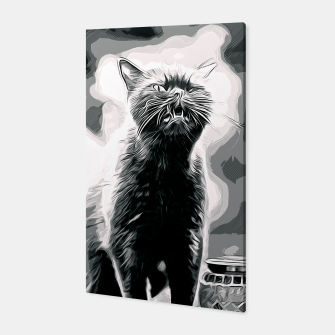Thumbnail image of gxp british shorthair cat ready to attack vector art black white Canvas, Live Heroes
