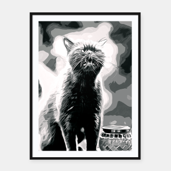 Thumbnail image of gxp british shorthair cat ready to attack vector art black white Framed poster, Live Heroes