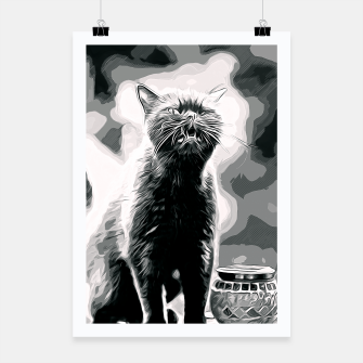 Thumbnail image of gxp british shorthair cat ready to attack vector art black white Poster, Live Heroes
