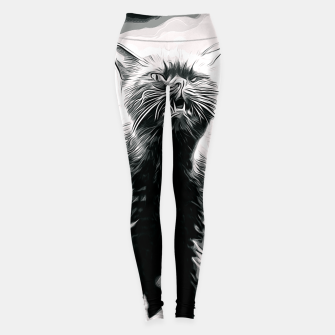 Thumbnail image of gxp british shorthair cat ready to attack vector art black white Leggings, Live Heroes