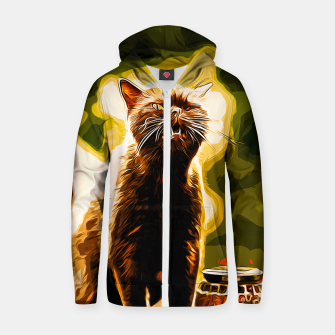 Thumbnail image of gxp british shorthair cat ready to attack vector art Cotton zip up hoodie, Live Heroes
