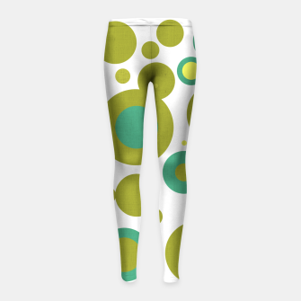 "Imagen en miniatura de ""Retro Dots Colorful Olive and Teal 02"" Leggings para niña, Live Heroes"
