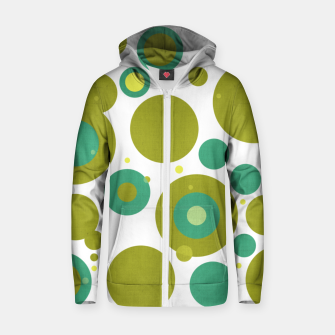 "Thumbnail image of ""Retro Dots Colorful Olive and Teal 02"" Sudadera con capucha y cremallera de algodón , Live Heroes"