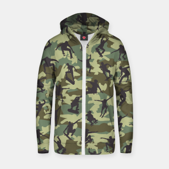 Thumbnail image of Skater Camo WOODLAND Cotton zip up hoodie, Live Heroes