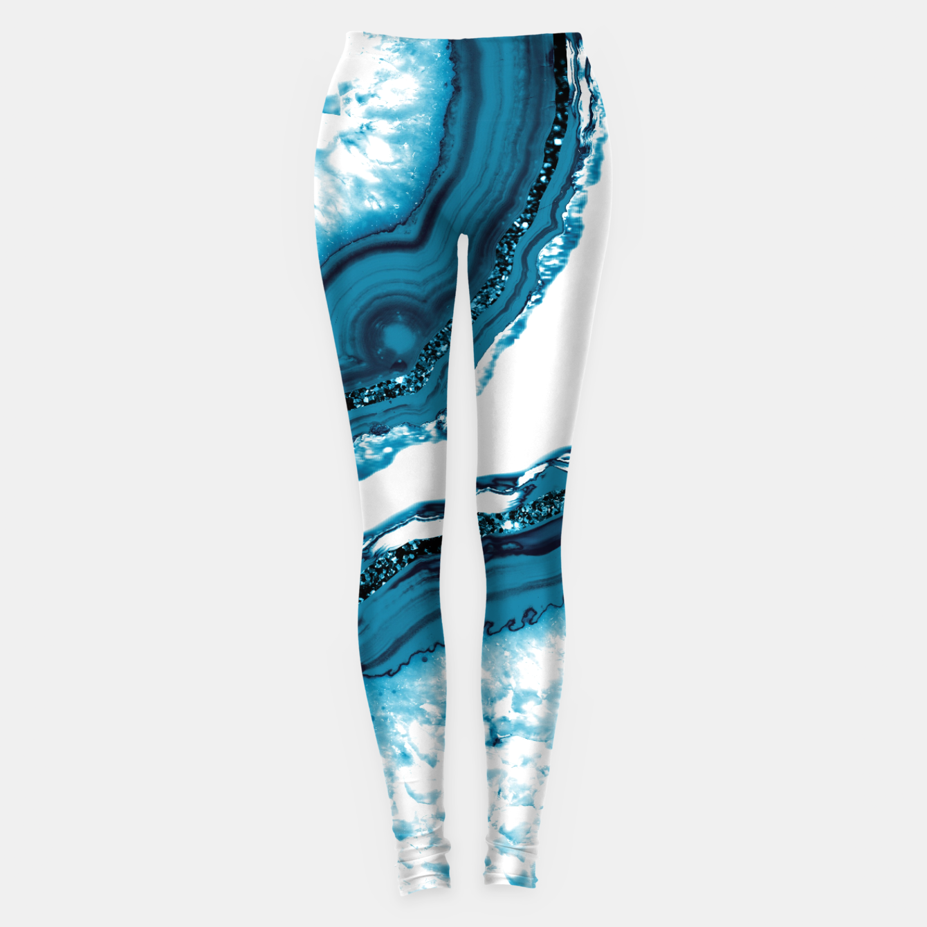 Zdjęcie Blue Agate Glitter Glam #1 #gem #decor #art Leggings - Live Heroes
