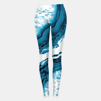 Blue Agate Glitter Glam #1 #gem #decor #art Leggings obraz miniatury