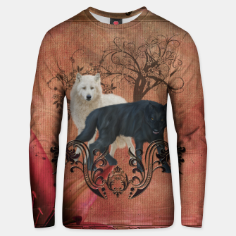Thumbnail image of Awesome black and white wolf Cotton sweater, Live Heroes