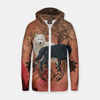 Thumbnail image of Awesome black and white wolf Cotton zip up hoodie, Live Heroes