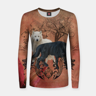 Thumbnail image of Awesome black and white wolf Woman cotton sweater, Live Heroes