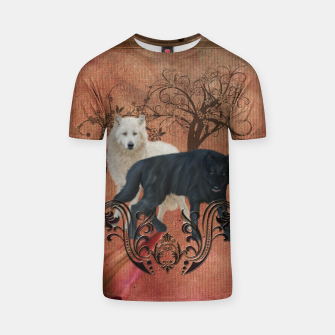 Thumbnail image of Awesome black and white wolf T-shirt, Live Heroes