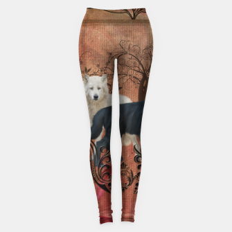 Thumbnail image of Awesome black and white wolf Leggings, Live Heroes