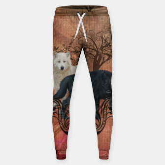 Thumbnail image of Awesome black and white wolf Cotton sweatpants, Live Heroes