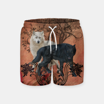 Thumbnail image of Awesome black and white wolf Swim Shorts, Live Heroes